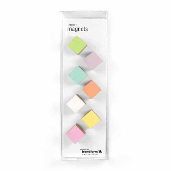 Magneet Timber houten magneetjes in pastelkleuren