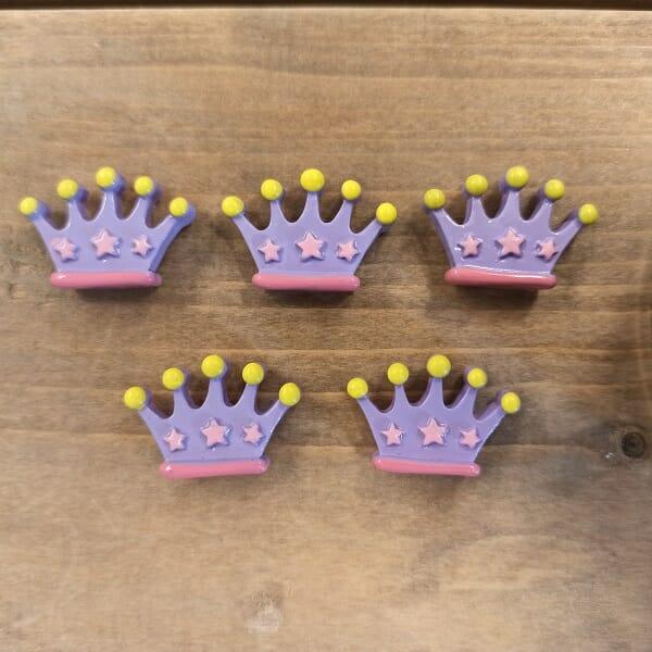 magneet kroontjes paars vijf stuks koelkastmagneet