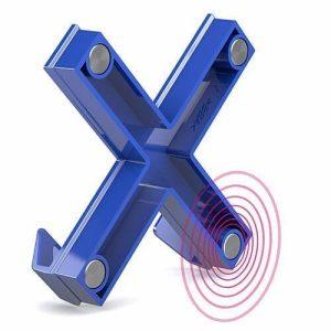 ophang haak magneet blauw in de vrorm van een kruis